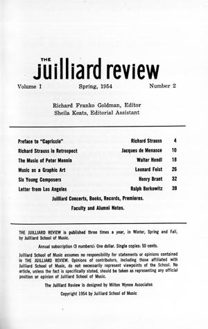 The Juilliard Review (New York, 1954 1962)